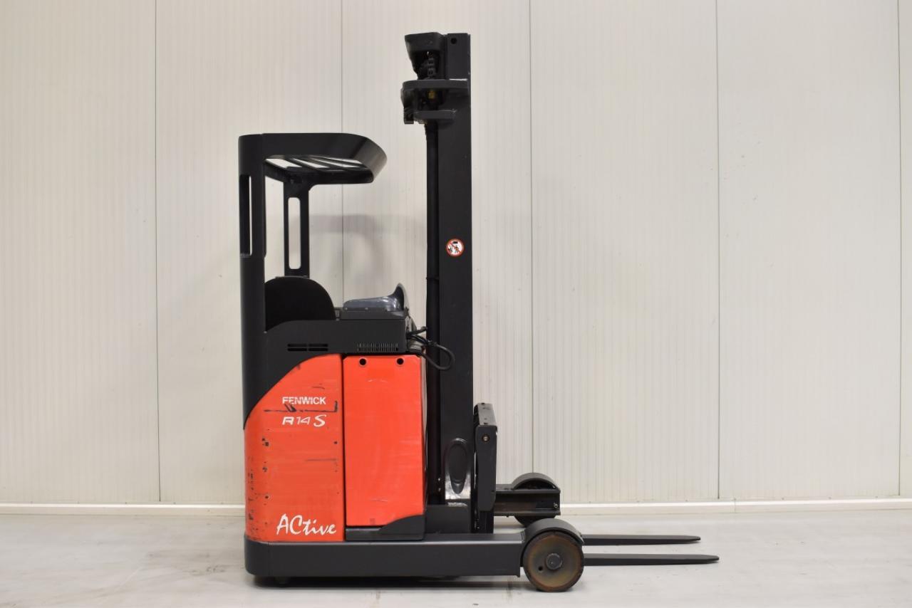 32580 LINDE R 14 S-12 - Battery, Reach truck, 2014, SS, free lift, TRIPLEX, only 3187 hrs